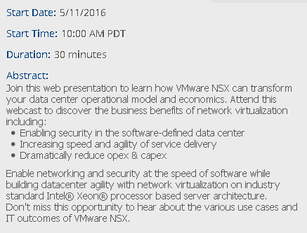 Event - Business Case Introduction to VMware NSX - May 11