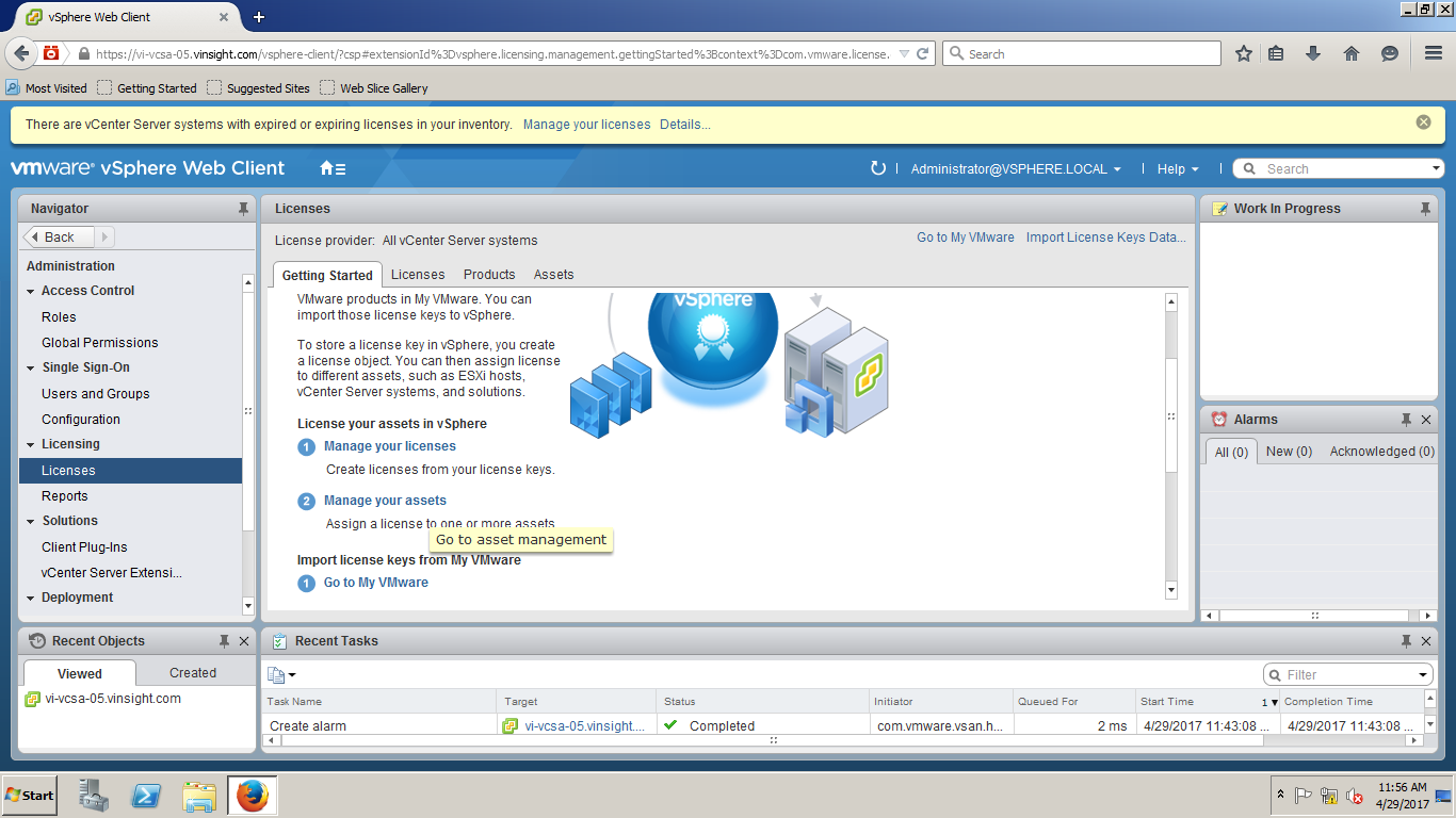vSphere 6 5 - How to Assign License Key to vCenter Server - VMWare